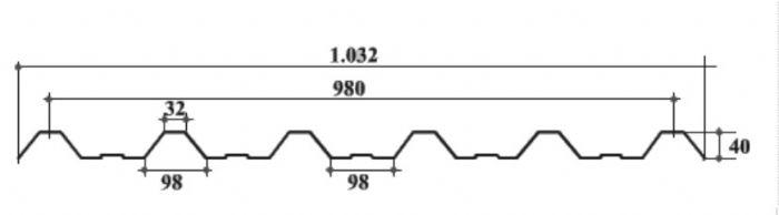 Telha Trapezio 40 Em Policarbonato Transparente 580 M
